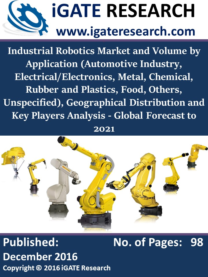 Industrial Robotics Market and Volume by Application (Automotive Industry, Electrical/Electronics, Metal, Chemical, Rubber and Plastics, Food, Others, Unspecified), Geographical Distribution and Key Players Analysis - Global Forecast to 2021